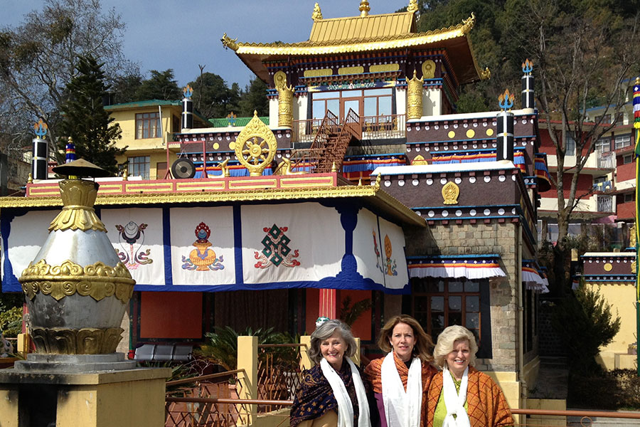With Rev. Susan Sims Smith and Patti Bailey at His Holiness' Palace, Dhamrmsala, India, 2012
