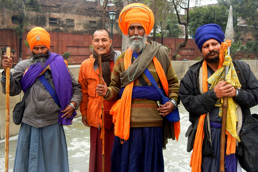 Lama Tenzin Choegyal with the Sikh guards at the Golden Temple, Amritsar, India, 2012
