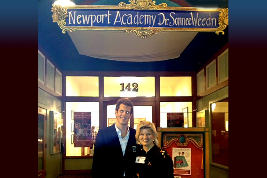 Jamison Monroe, owner of Newport Academy, and Sonnee moderate the film, Beyond the Orange Curtain, Mill Valley, 2014