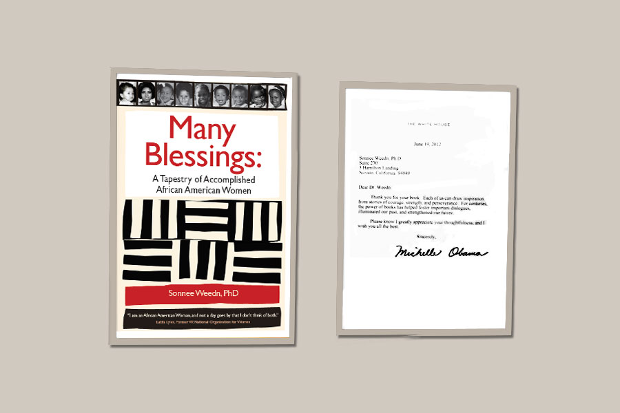 "Thank-you note from Michelle Obama for my book ""Many Blessings: A Tapestry of Accomplished African American Women."""