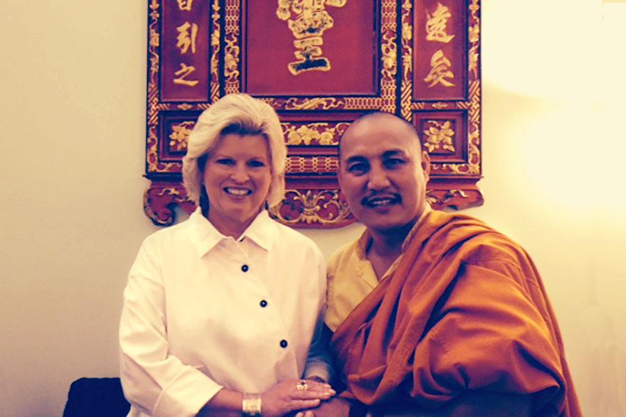 With Tibetan Buddhist monk and dear friend, Lama Tenzin Choegyal in my office, 2014