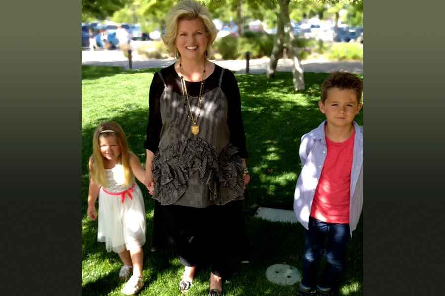 With grandchildren, Parker Sonnee and Daylan, Newport Beach, 2014