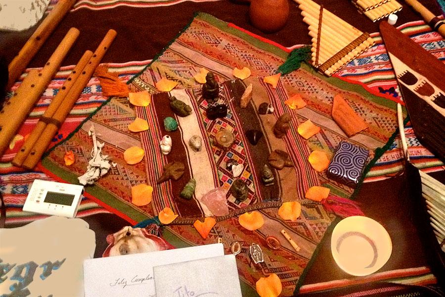 Tito La Rosa's altar for his shamanic healing music, 2015
