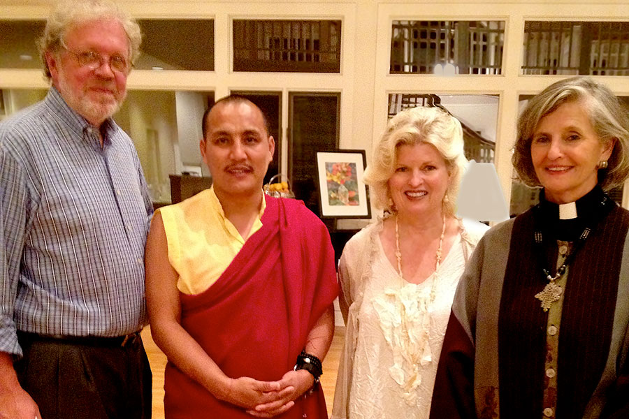 With Dr. Rick and the Rev. Canon Susan Sims Smith, Lama Tenzin Choegyal, fund-raising event in Little Rock, AR for the CED House orphanage in Dehradun, India, 2014